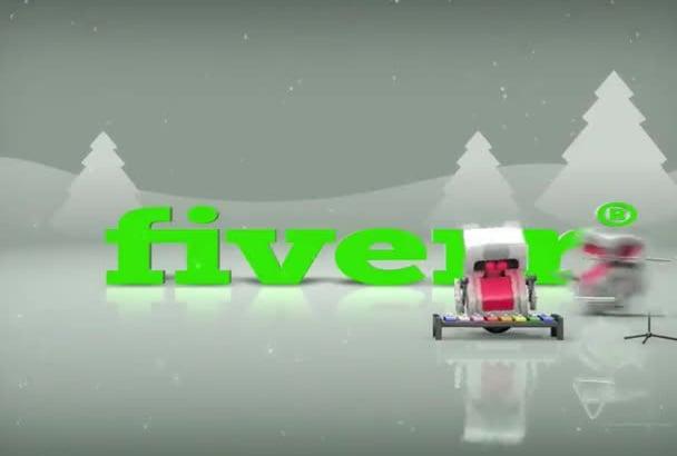 make a Festive Christmas robots animation for Logo