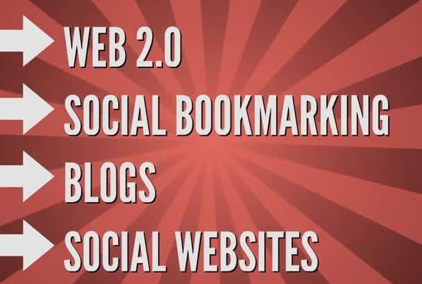 manually create social backlinks from 50 high DA web 2 0 websites