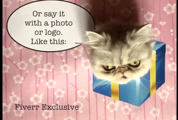 make cat pet birthday greeting with your text or photo