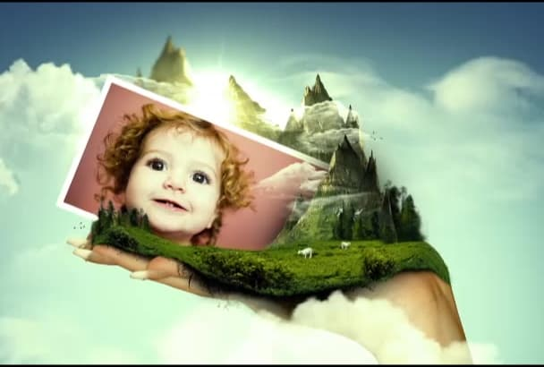 create video of your photos on beautiful girl hand