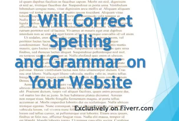 proofread, correct spelling and grammar on your website
