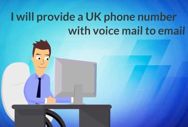 provide a UK phone number with voice mail to email