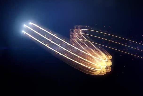 render a slashing fire logo animation