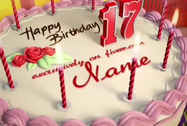 make a animated Full HD birthday cake 24h