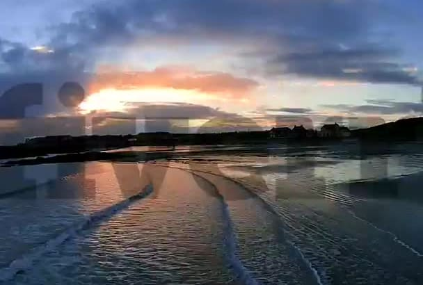 create a beautiful sunset beach scene with my drone