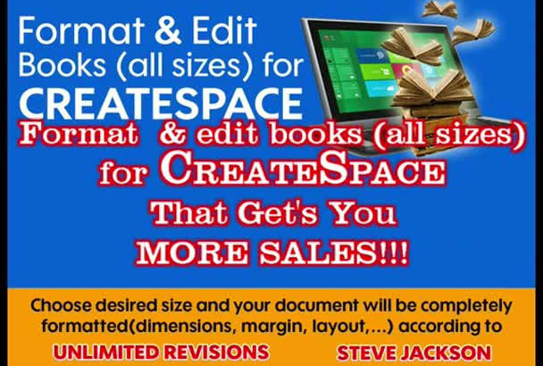edit and format your book for CreateSpace, FREE revisions