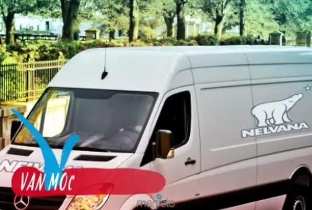 create a 4 Pro and Realistic Sprinter Van mockup