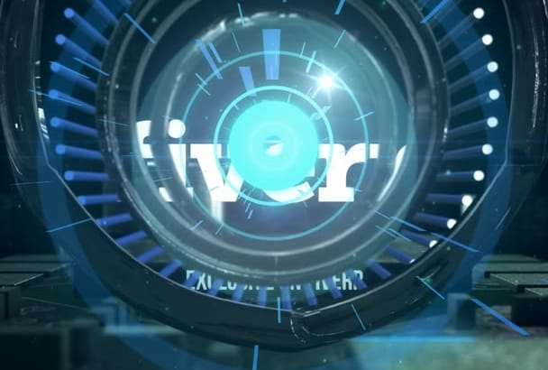 do cybernetic sci fi intro for logo
