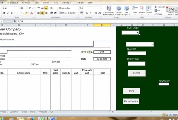 set up INVOICE System in Excel customized for you