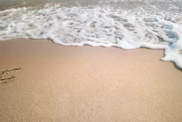 write your text on beach in video