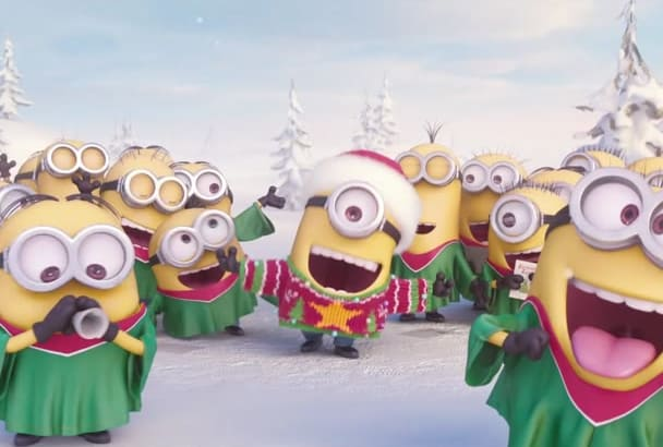 put your text and logo in this New Year Minion Jingle Video