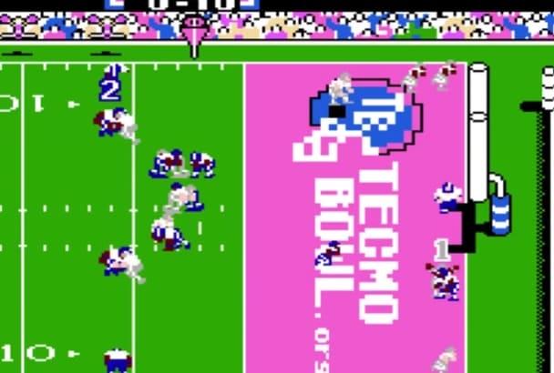 write a NFL Tecmo Super Bowl message