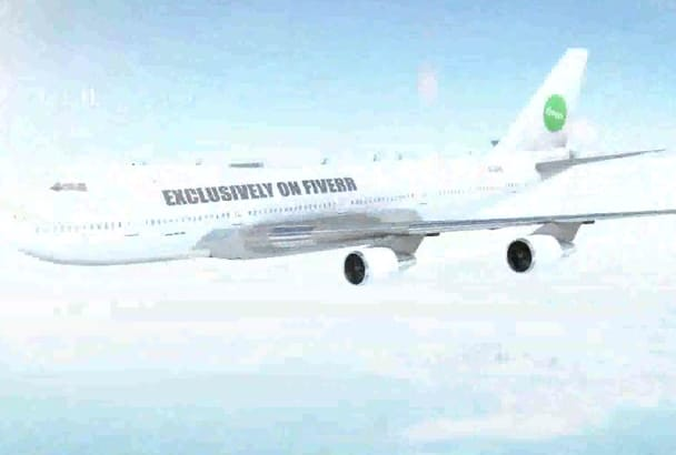 put your LOGO or text on flying jumbo jet airplane
