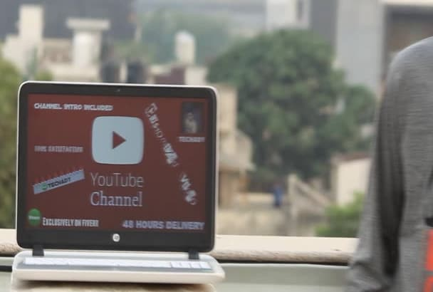 create youtube channel with a introvideo and customize video