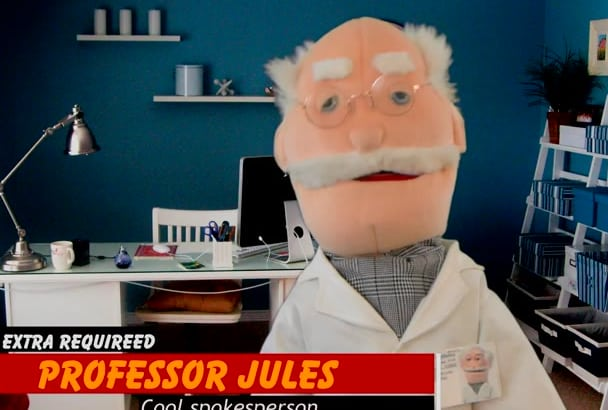 professor Puppet your message in English or Spanish