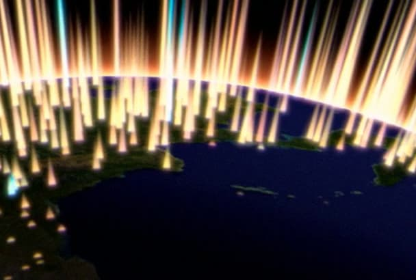 do animated intro in Hollywood movie style  globe