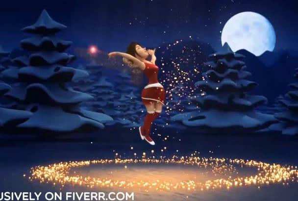 make a Christmas greetings magical dance logo animation