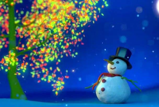make a snowman CHRISTMAS tree video greeting
