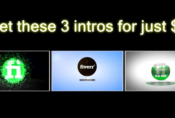 make these 3 INTROS with your logo and text
