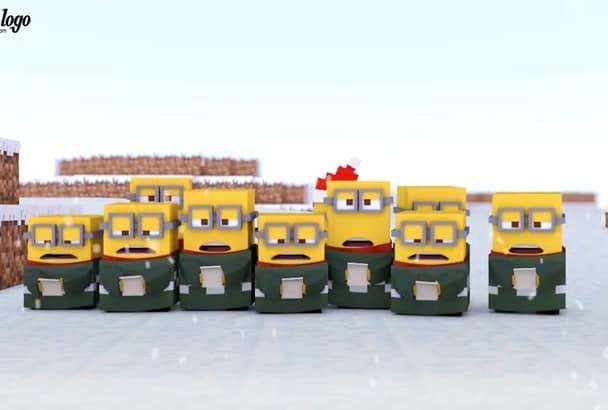create Minecraft Minions christmas video greeting