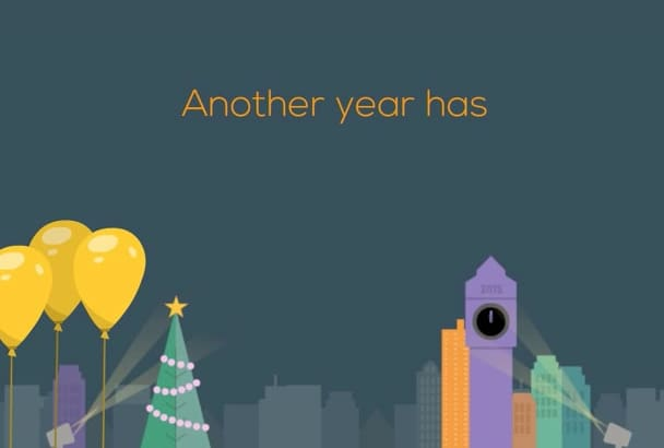 create a professional and fun Happy New Year video message