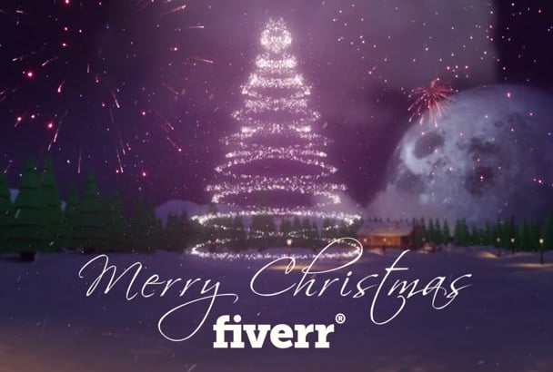 create wonderful christmas tree greeting video with your logo