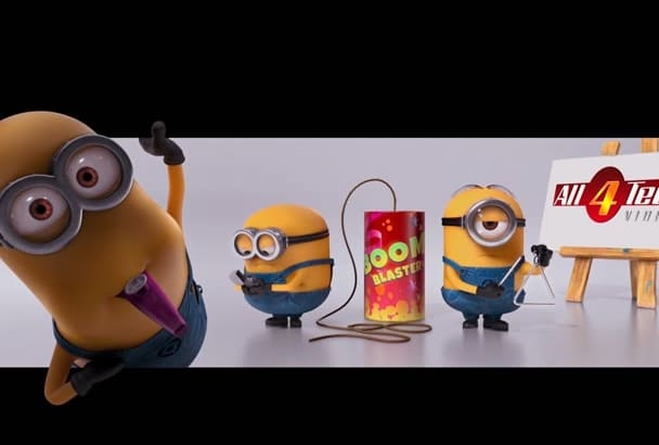 make funny MINIONs intro playing with firecracker