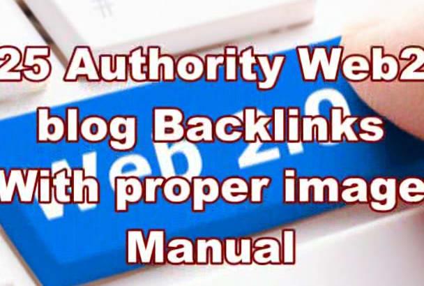 create Manually 25 Authority Web 2 Blog Backlinks