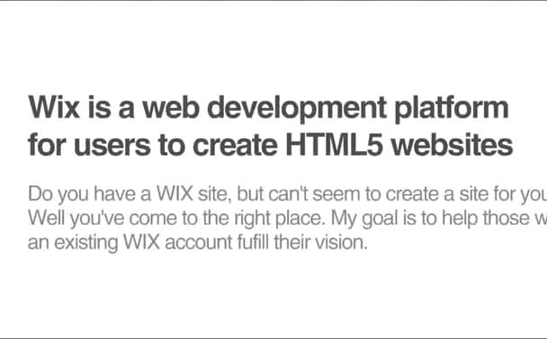 design a site in wix, full package