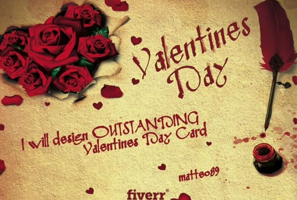 design Valentines Day Card and love message