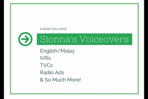 record a Malay OR English voiceover up to 3 minutes