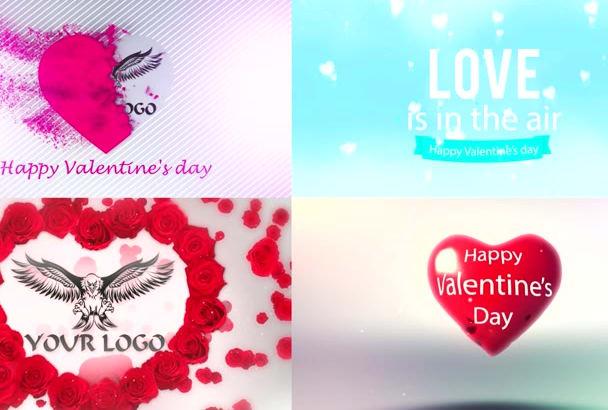create 1 of 4 romantic love logo intro