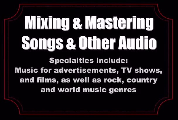 mix and master your music or commercial advertisement audio