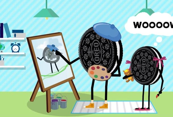 illustrate flat 2d cartoons and animate it