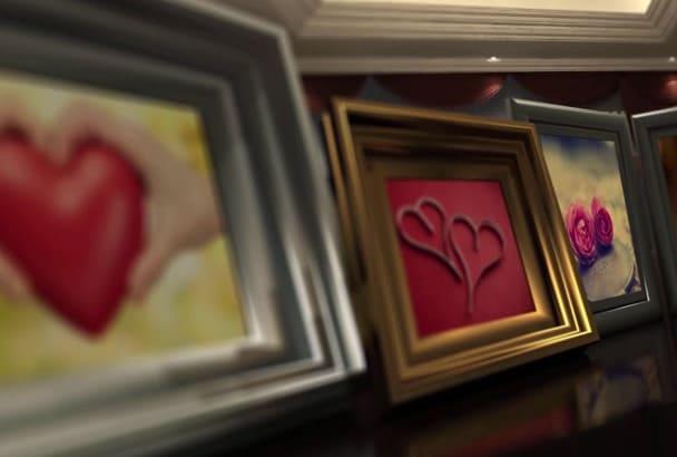 create a LOVE intro on 3D room