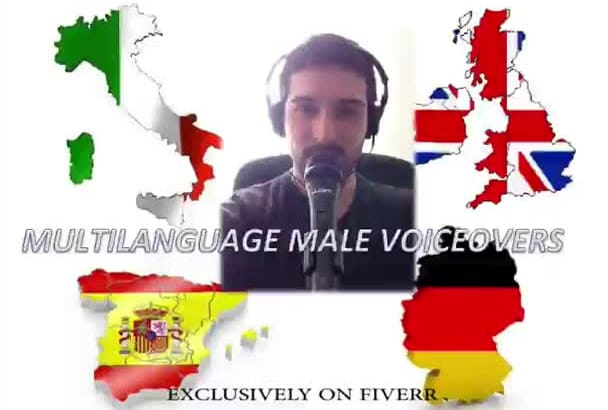 voice over in Italian Spanish English German  MALE
