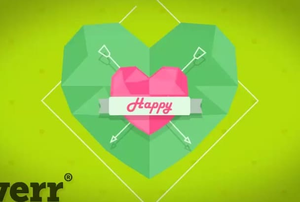 create hd VALENTINE day greeting with flat hearts
