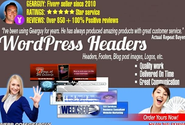 design a professional WordPress HEADER banner graphic image