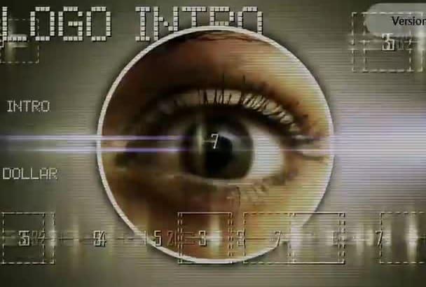 make Eye Tech Glitch logo intro in 4 different variations