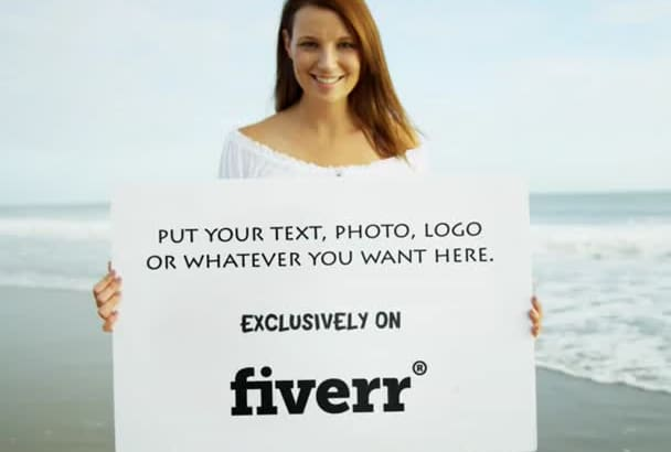hold your image, logo or message in this video on the beach