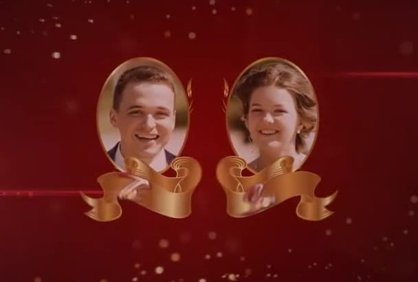 create Animated Wedding Invitation video in Gold and Red