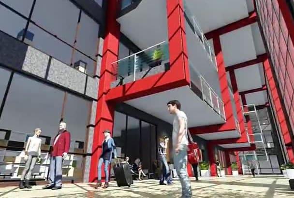 render realistic walkthrough animation video from your 2d floor plan n 3d model