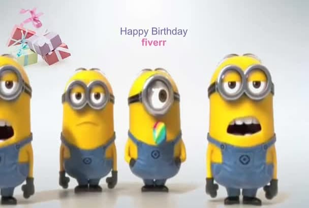 make minions sing Birthday and text with your name