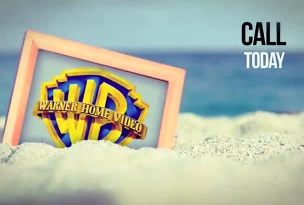 create a REALISTIC Logo Image Seashore Beach Video Intro