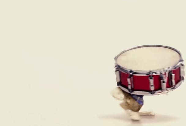 make this Easter bunny play drums with your logo and texts