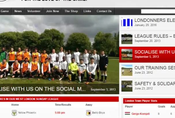 create Professional Football and other Sports websites