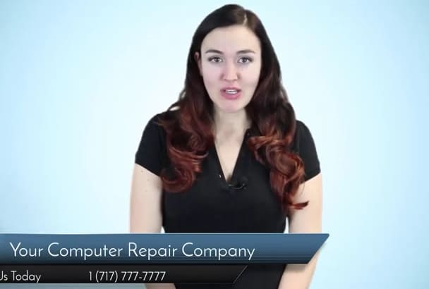 put your business name on a video for a computer repair shop