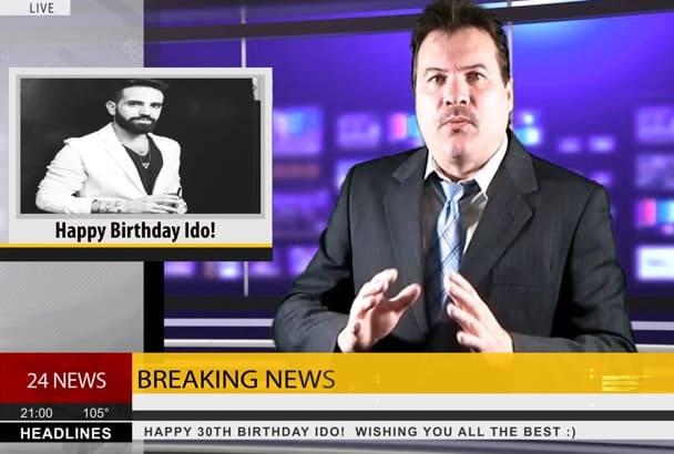 film a Breaking News Birthday announcement video