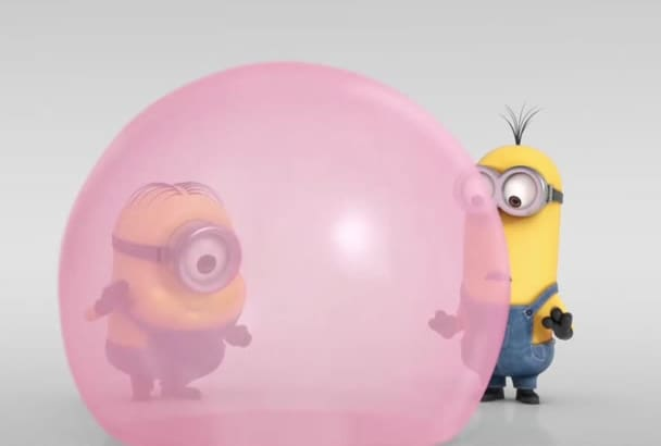 add your logo in minion funny bubble video