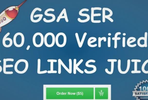 do 60,000 Verified GSA Ser Live Backlinks for Seo Rankings